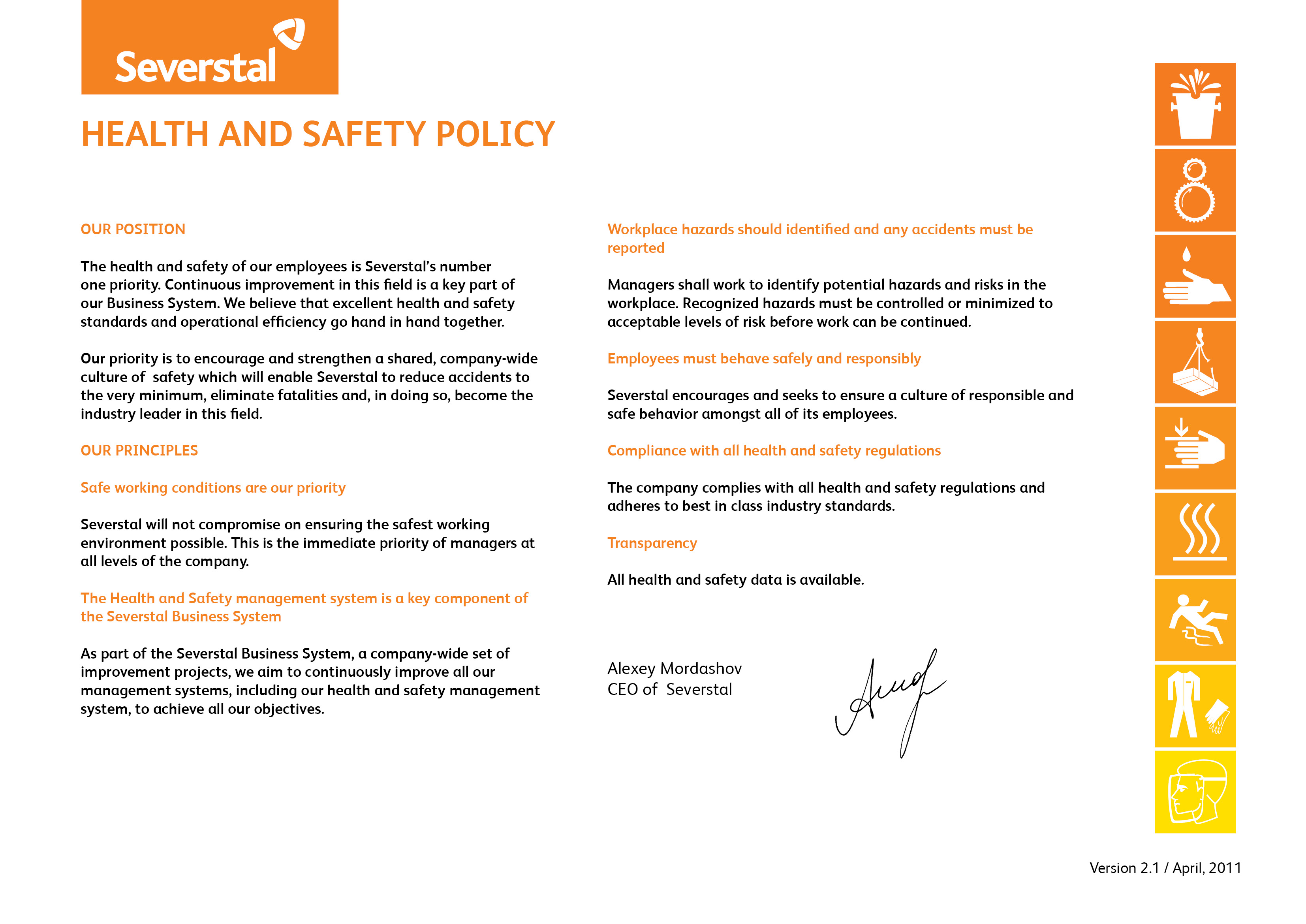 izhora pipe mill corporate responsibility health and safety policy